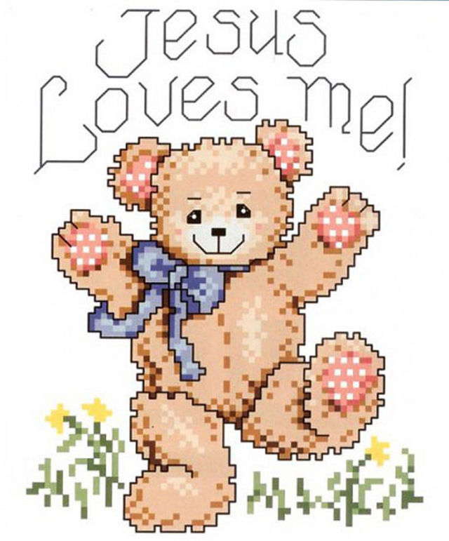 Jesus Loves Me Teddy Bear Cross Stitch Pattern Look