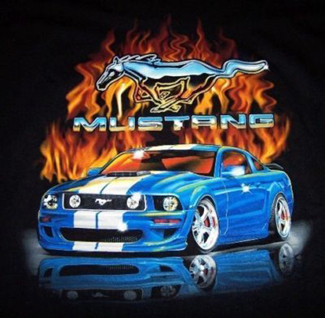 blue gt mustang flame cross stitch pattern look