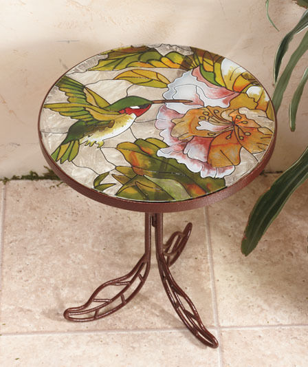 Erfly Stained Gl Accent End Patio Deck Outdoor Table Garden
