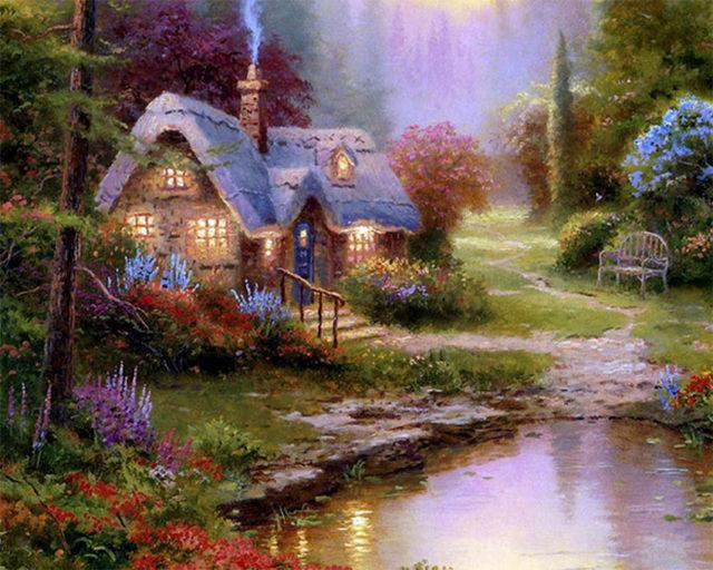 Buy Thomas Kinkade Mountain HuddLe House Cross Stitch Pattern L@@K at AtomicMall.com