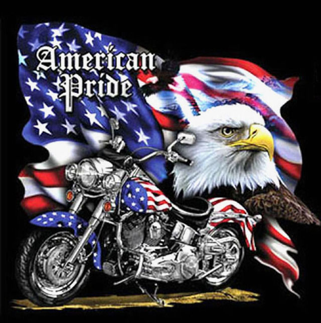 American Pride MotorCycLe Cross Stitch Pattern LOOK