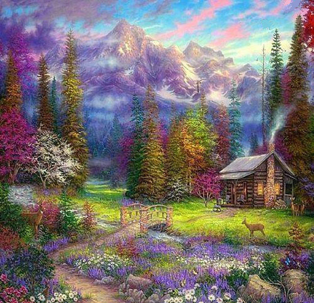 Buy Mountain Cabin In The Woods Cross Stitch Pattern LOOK at AtomicMall.com