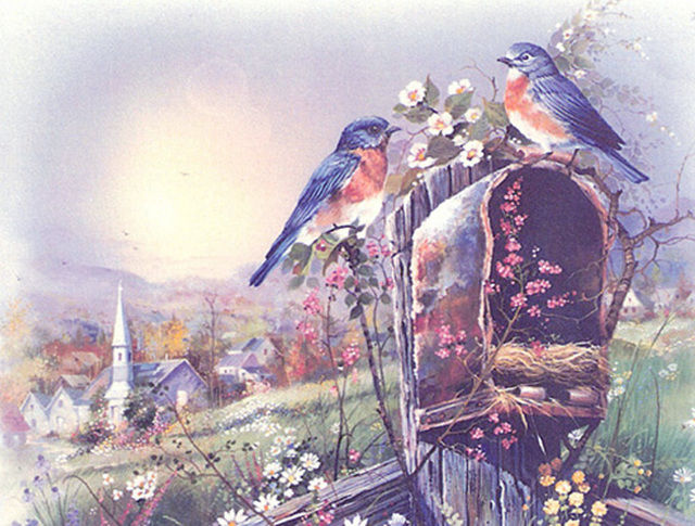 BLue Birds MaiL Box Cross Stitch Pattern LOOK