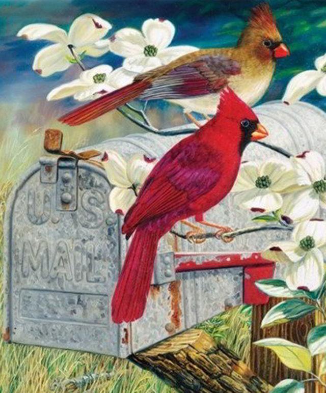 A Red Bird Express Cross Stitch Pattern LOOK