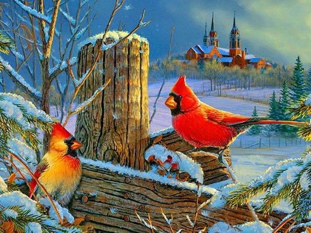 Winter Cardinals Cross Stitch Pattern DOWNLOAD