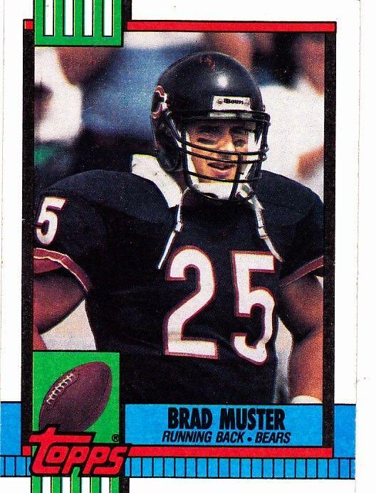 brad muster 372 bears 1990 topps football trading card