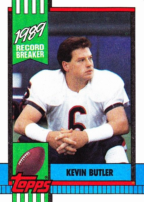 Kevin Butler 4 Bears 1990 Topps Football Trading Card
