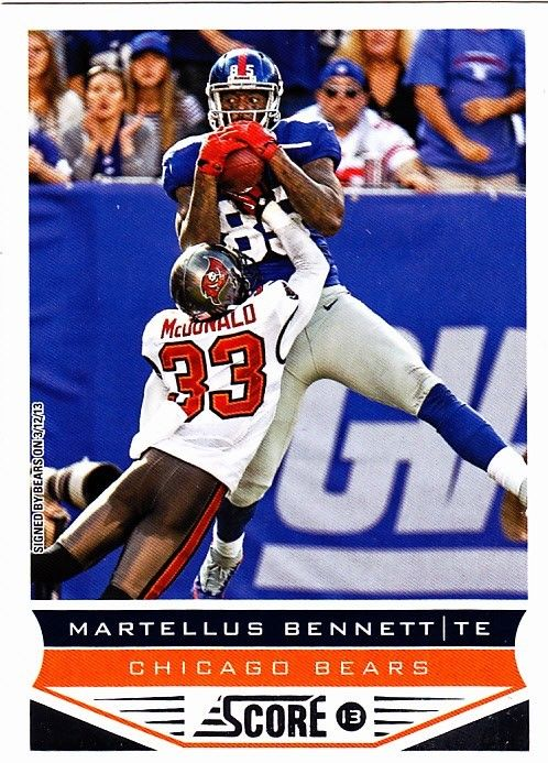 martellus bennett 38 bears 2013 score football trading card