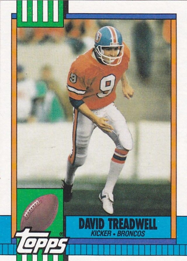 David Treadwell 34 Broncos 1990 Topps Football Trading Card