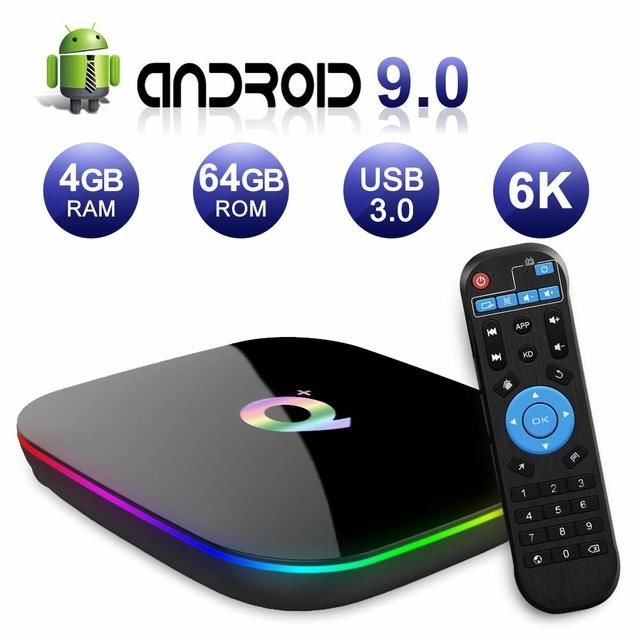 q plus android 9 0 tv box 4gb ram 64gb rom 6k quad core allwinner