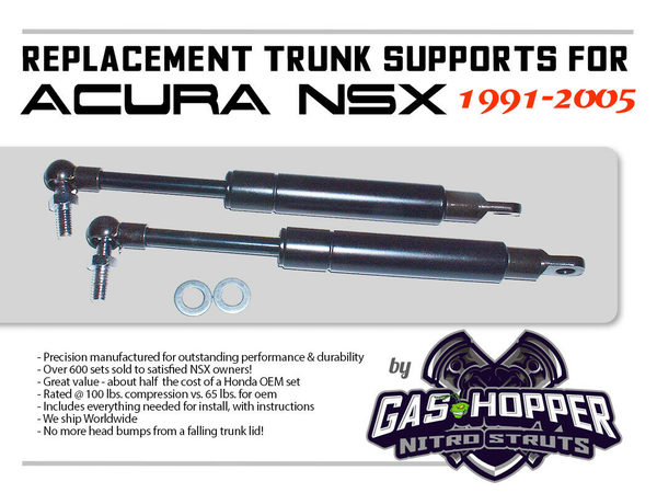 trunk strut supports 1991 2005 acura honda nsx 2 lifts stays shocks