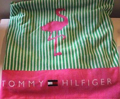 Tommy Hilfiger Beach Towel Pink Flamingo Green Stripe