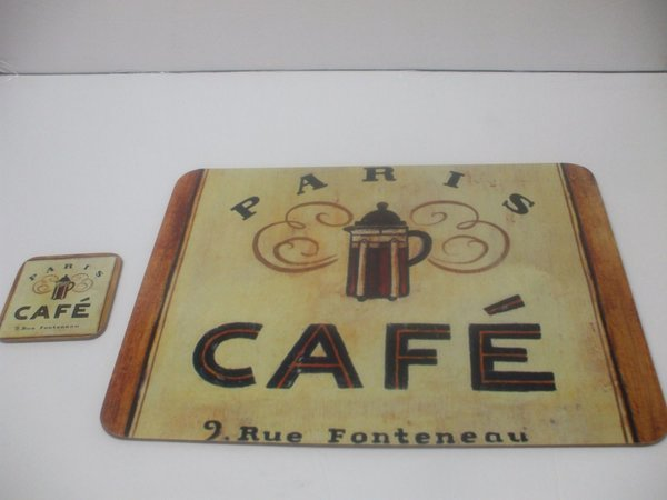 Shabby Chic Corkboard Placemat And Coaster 15 Inches X 13 Inches Paris Cafe