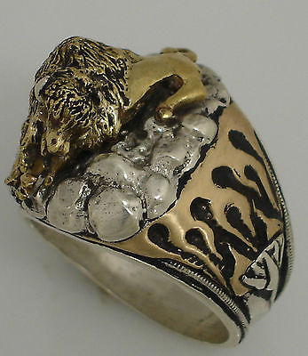 American BUFFALO Mens flame ring Sterling Silver ruby Lge