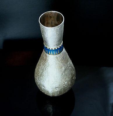 Tutankhamun Egyptian10karat gold accented Enamel Sterling Silver Flask
