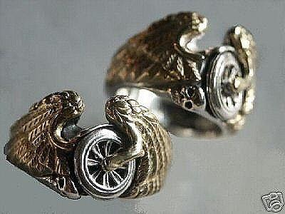 Flying Winged Wheel Skull Ring Sterling Silver