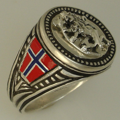 Norse Lion Flag Mens Coin ring Sterling silver 925