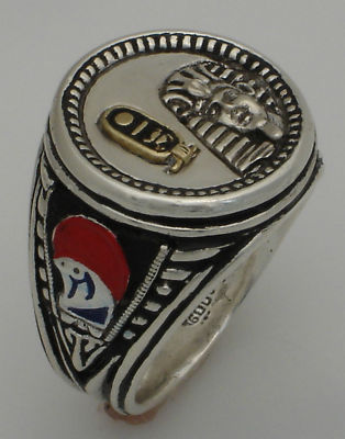 Tuthmosis III Sterling Silver coin ring 10k cartouche